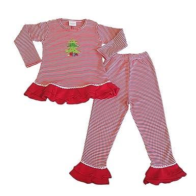 Christmas Pajamas Girls 2-Pc Top Pants Ruffles Christmas Tree Applique a02ee5157