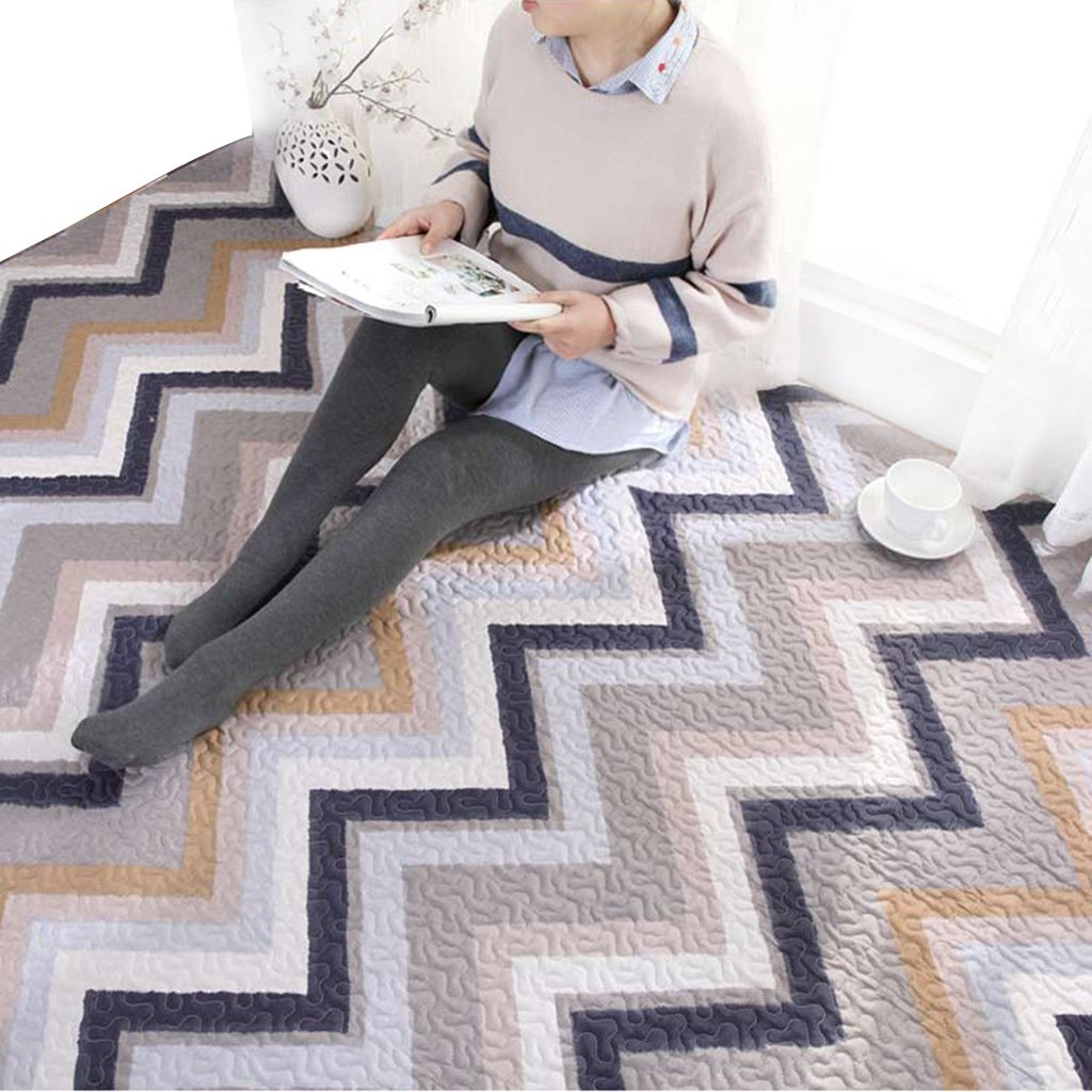 Cotton Curve Geometric Pattern Household Tatami Crawling mat Machine Washable Washable