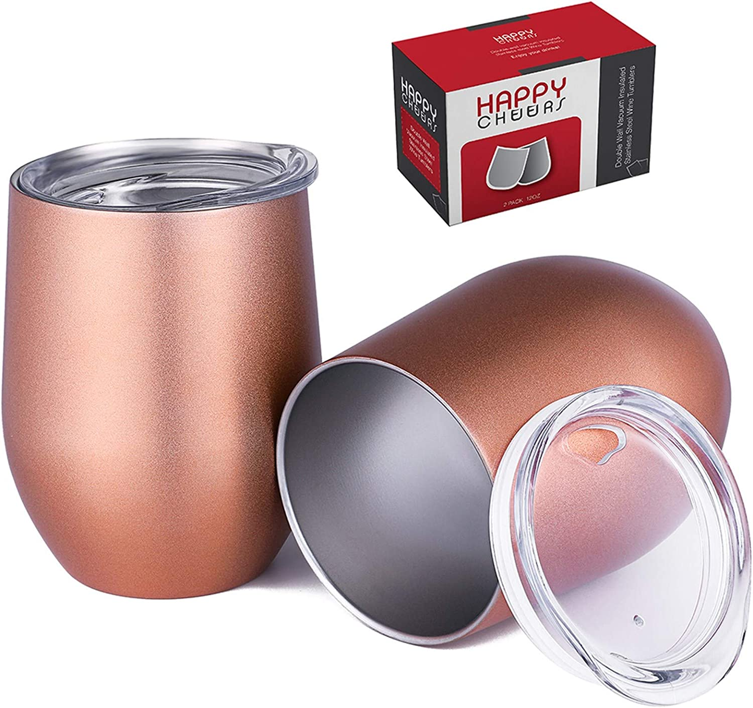 Happycheers Insulated Wine Tumbler Cup with Lid and Straw, Stainless Steel 12 Oz Tumblers Set, Portable Metal Wine Mug of 2 Pack for Coffee Drink Cocktail Outdoor Travel, with Box, Rose Gold