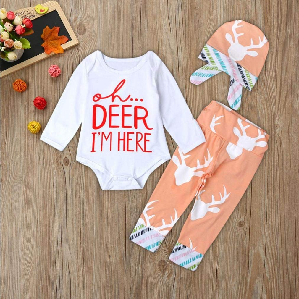 Baby Kid Outfits,Fineser 3PCS Toddler Infant Baby Boy Girl Letter Print Romper Deer Head Print Pants+Hat Set Outfit