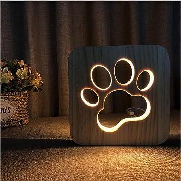 Illusion Led De Créatif Forme Sculpture Du Patte Veilleuse Chien Oofay Tableaulumière Art Bois Light3d Lumières Lampe Night hCtrdsQ