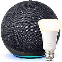 Echo (4.ª generación) | Sonido de alta calidad | Antracita + Philips Hue Bombilla Inteligente (E27), compatible con…