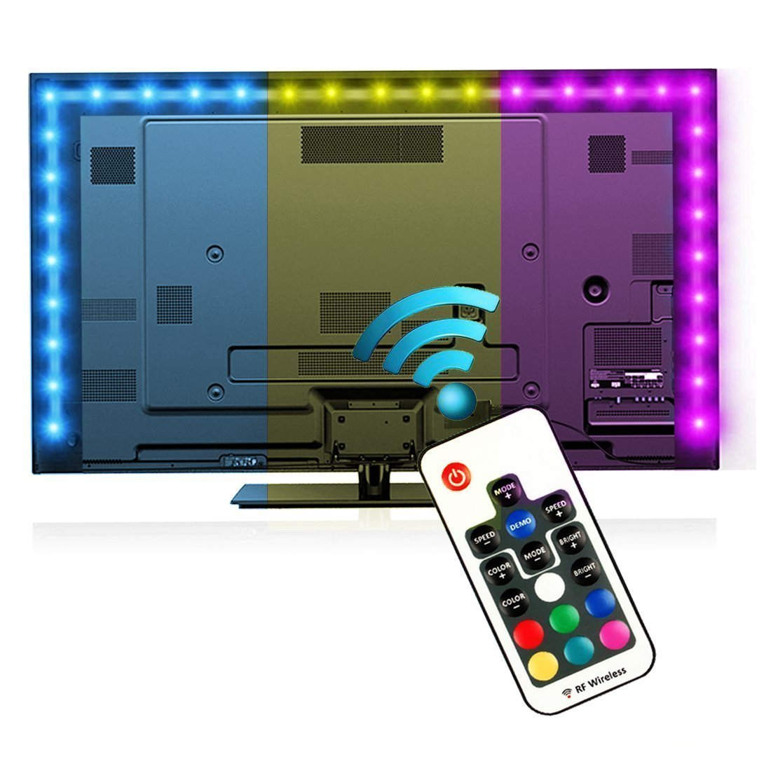 Bias Lighting for HDTV (78.7in / 2m) with Remote Control - EveShine Multi-Color RGB TV LED Backlight Strip Lighting Kit for Flat Screen TV LCD, Desktop Monitors - Fits Any TV Size Up to 60'' - Black by EveShine (Image #1)