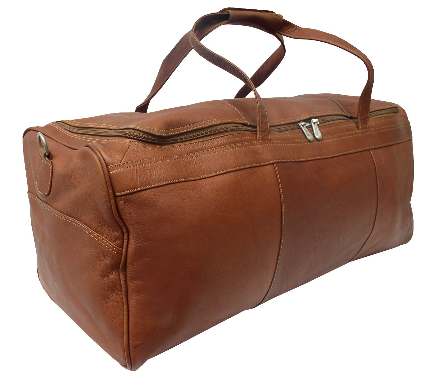 Piel Leather Traveler's Select Large Duffel Bag in Saddle by Piel Leather