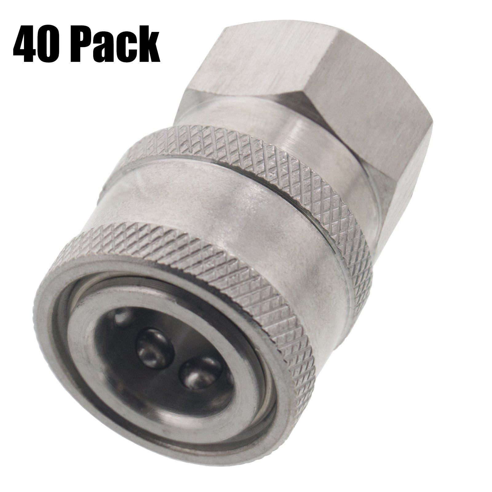 Erie Tools 40 Pressure Washer 1/4in. Female NPT to Quick Connect Socket Stainless Steel Coupler High Temp 5000 PSI 10.5 GPM