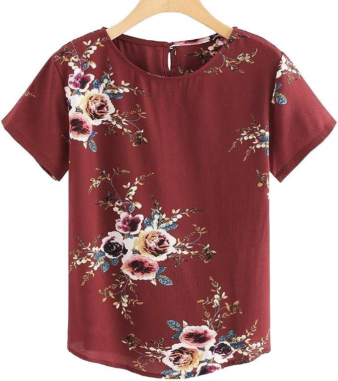 LOOKAA Women Summer Printing Round Neck Wild Short Sleeve Shirt Casual Tunic Tops Blouse