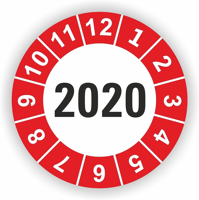 Rot 30 St/ück 5-1.000 St/ück Pr/üfplaketten Pr/üfetiketten Wartungsetiketten Jahresplakette 2020 /Ø 20mm