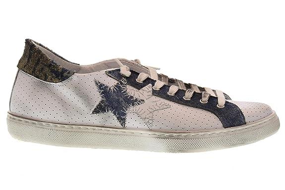 2 STAR Shoes Men Low Sneakers 2SU 1822 Bianco BLU