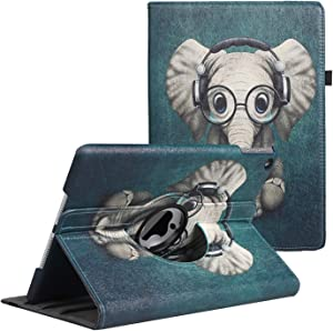 LXS iPad 9.7 inch Case 2018 2017/ iPad Air Case - 360 Degree Rotating Stand Protective Cover Smart Case with Auto Sleep/Wake for Apple iPad 5th/6th Generation (Elephant)