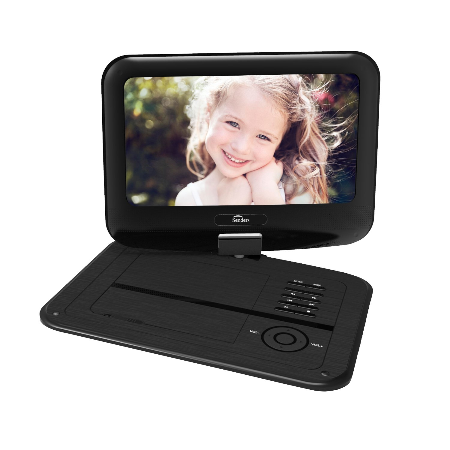Senders 9.5 Inch Portable DVD Player with Swivel Screen,Multimedia Portable Video Player Built in Rechargeable Battery,SD Card Slot and USB Port – Black by Senders
