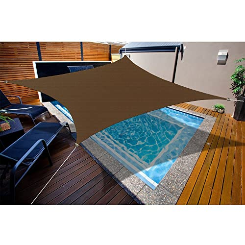 Alion Home HDPE UV Block Curved Edge Sun Shade Sail Permeable Canopy – Square and Rectangle – Custom 185GSM 9 x 9 , Mocha Brown