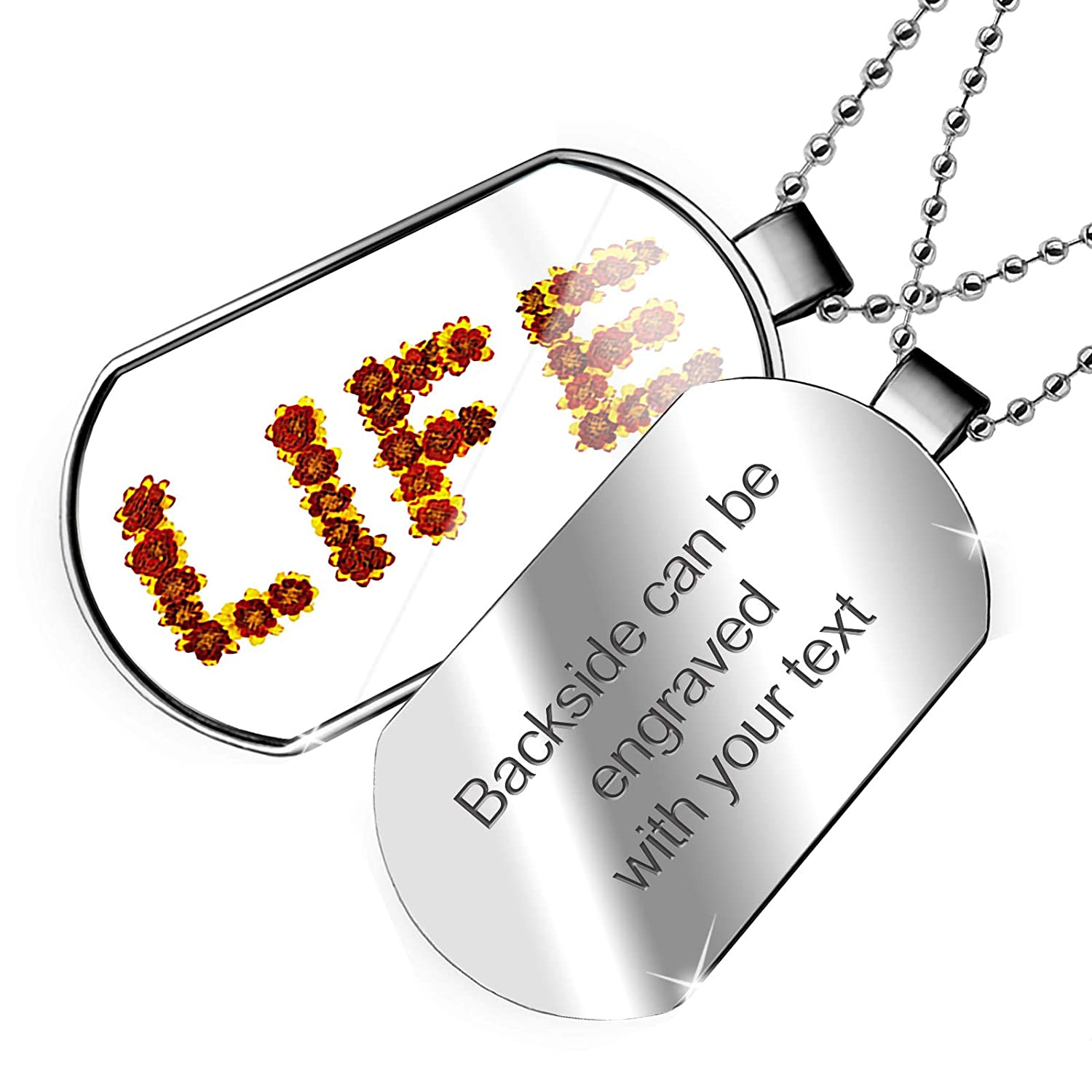 NEONBLOND Personalized Name Engraved Life Red and Yellow Flowers Dogtag Necklace