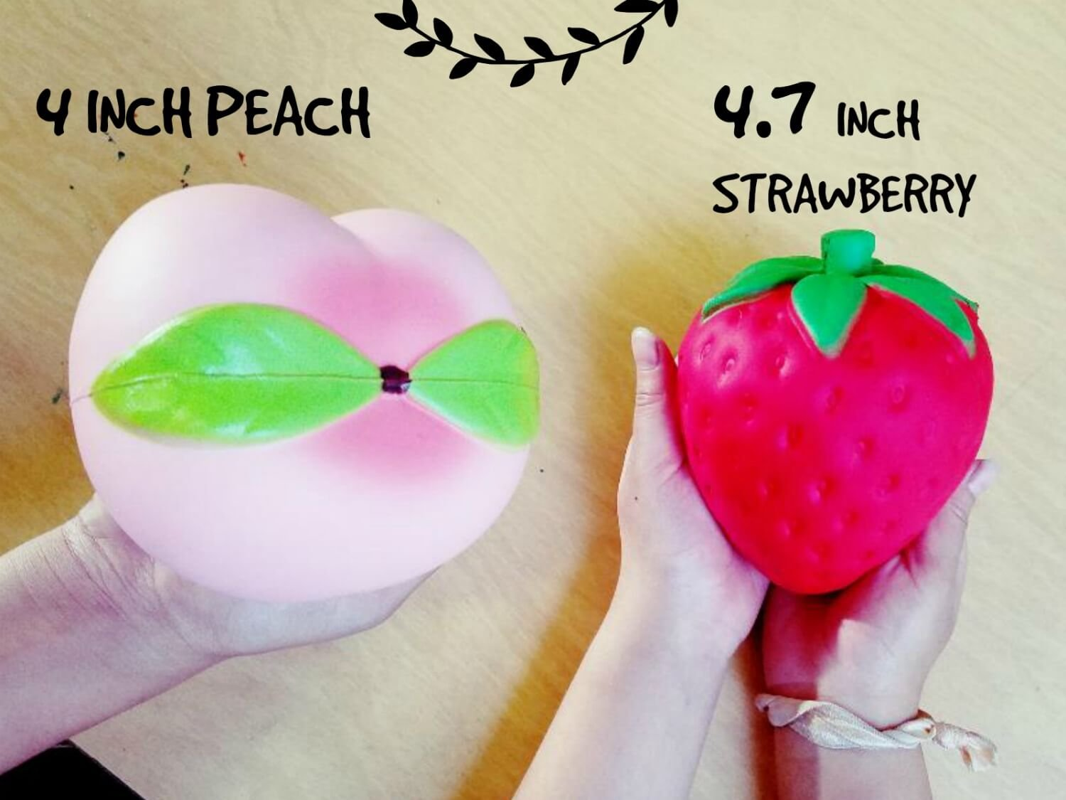 Squishies Slow Rising Jumbo Fruit - Prime 4 Pack Kawaii Squishy Toys Package Strawberry Peach Banana Apple Giant Scented Fruit Pack Cute Squishys Super Soft Stress Relief GIFT For Kids & Adults by Buylet Squishies (Image #5)
