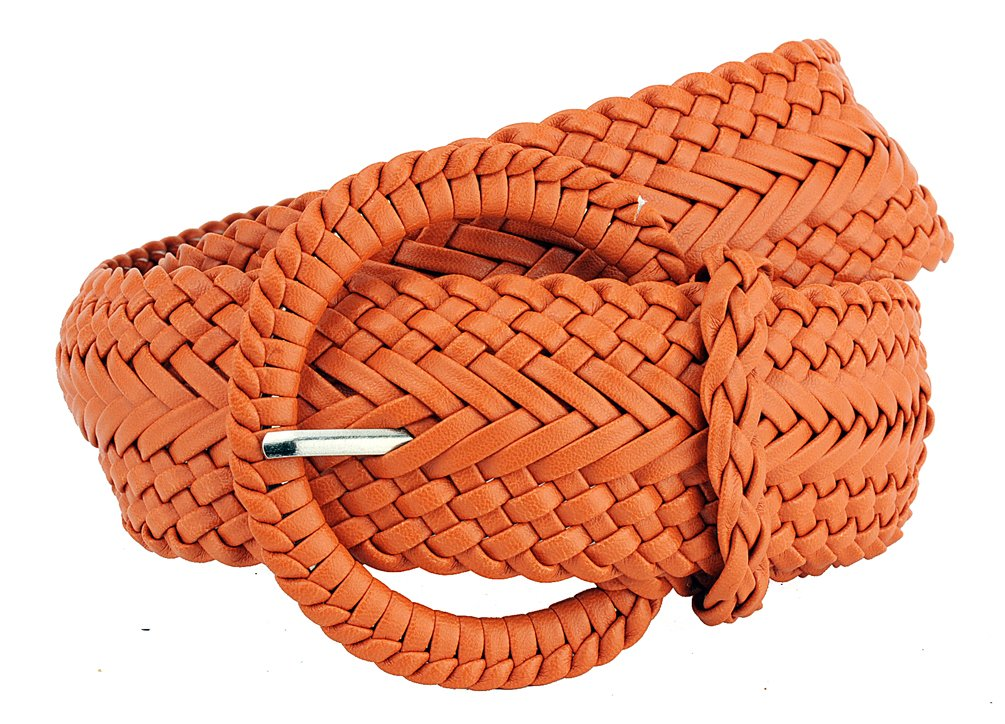 Ladies Fashion Web Braid Faux Leather Woven Metallic Wide Belt 22 Colors (XL (47), Metallic Silver)