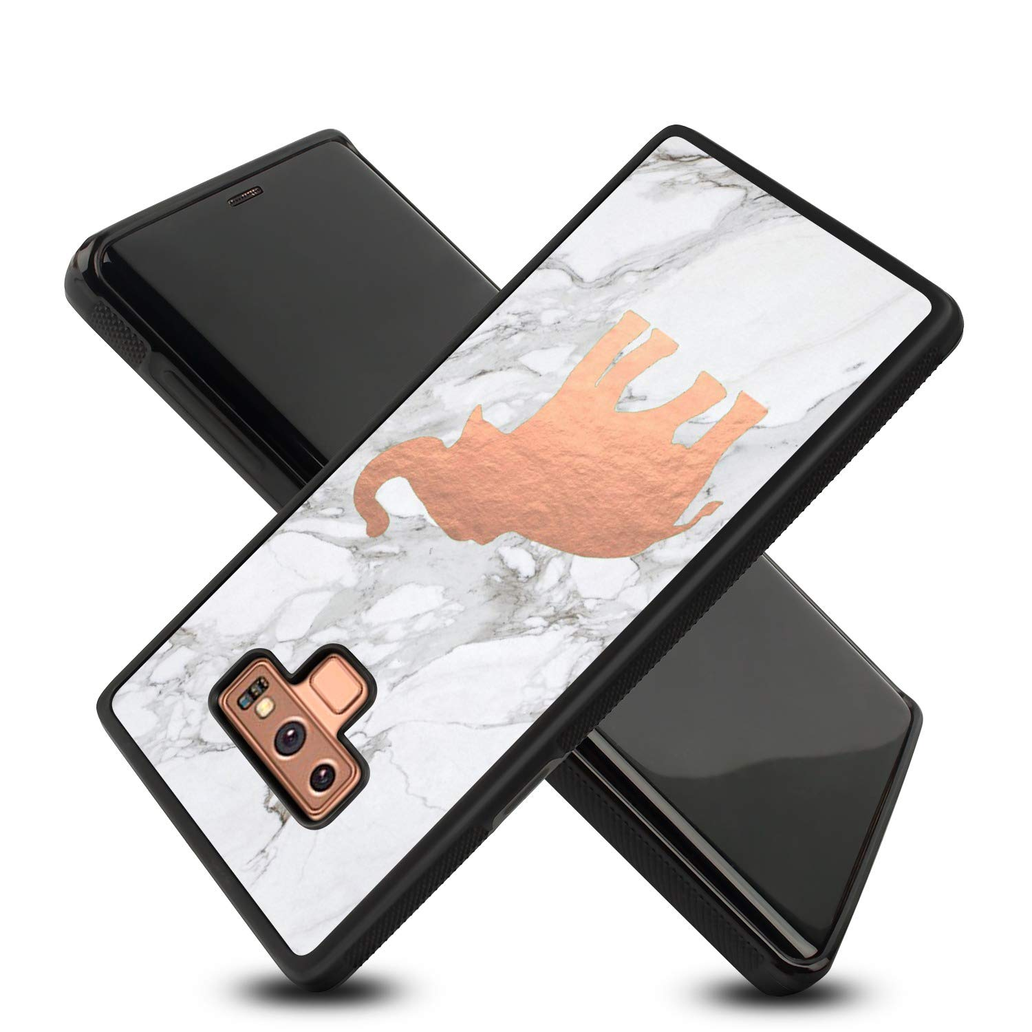 KASOS Galaxy Note 9 Case, Soft TPU and Hard PC Case Shockproof for KASOS Galaxy Note 9, Tire Tread Full Body Protective Anti-Scratch Resistant Case for Samsung Galaxy Note 9-Cute Rose Gold Elephan