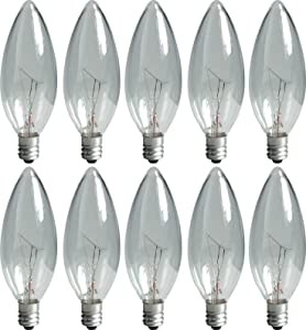 GE Lighting Crystal Clear 74974 15-Watt, 95-Lumen Blunt Tip Light Bulb with Candelabra Base, 10-Pack