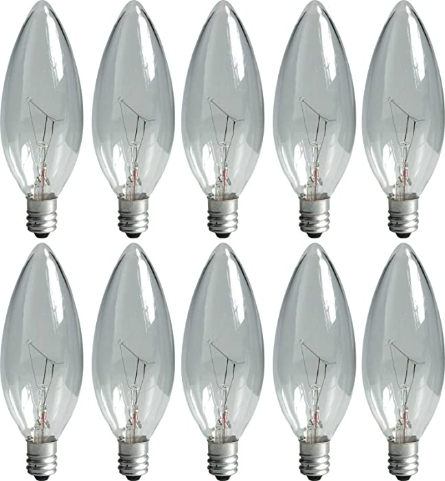 GE Lighting Crystal Clear 74974 15-Watt, 95-Lumen Blunt Tip Light Bulb with Candelabra Base, 10-Pack