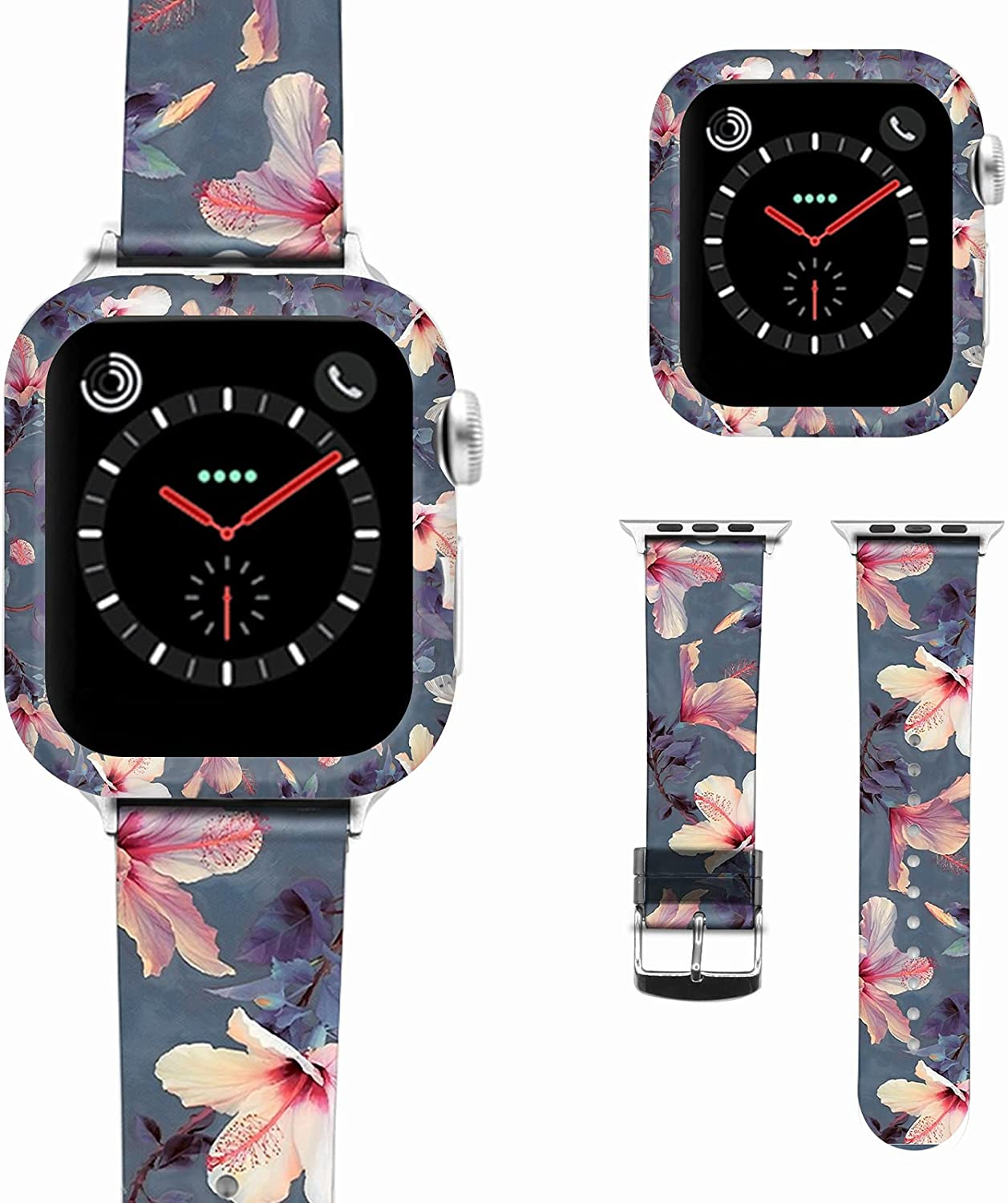 Cartoon Pattern Soft Leather Watch Bands Compatible with Apple iWatch Band 38 40 42 44 mm , Women Men Watch Band Replacement Strap for iWatch 6 SE Series 5 4 3 2 1