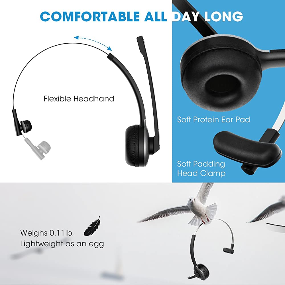 9f092b07001 Mpow V4.1 Bluetooth Headset/ Truck Driver Headset, Wireless Over Head  Earpiece with Noise Reduction Mic for Phones, Skype, Call Center, Office  (Support ...