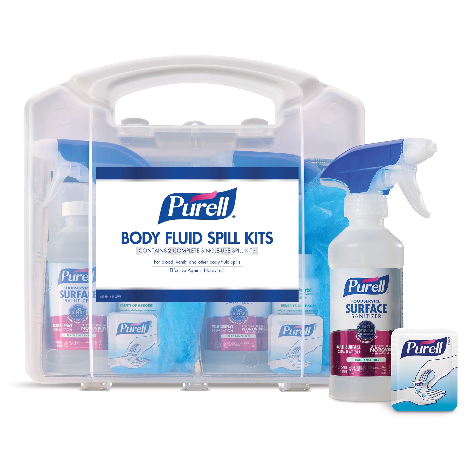 PURELL Body Fluid Spill Kit in Clam Shell Carrier, 2 Spill Kit Uses per Clamshell - 3841-08-CLMS