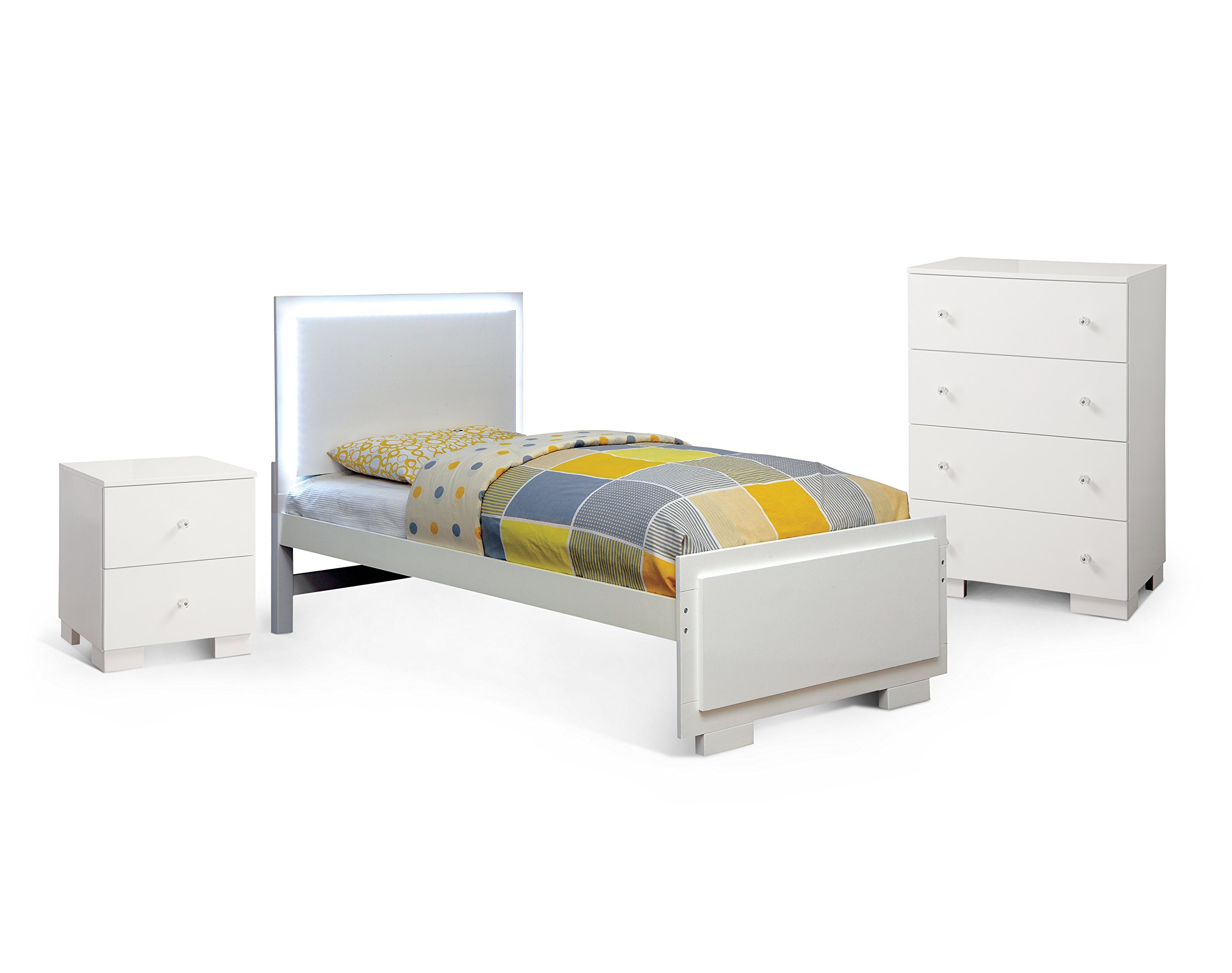 HOMES: Inside + Out 3 Piece ioHOMES Delena Contemporary Bed Set, Twin, White