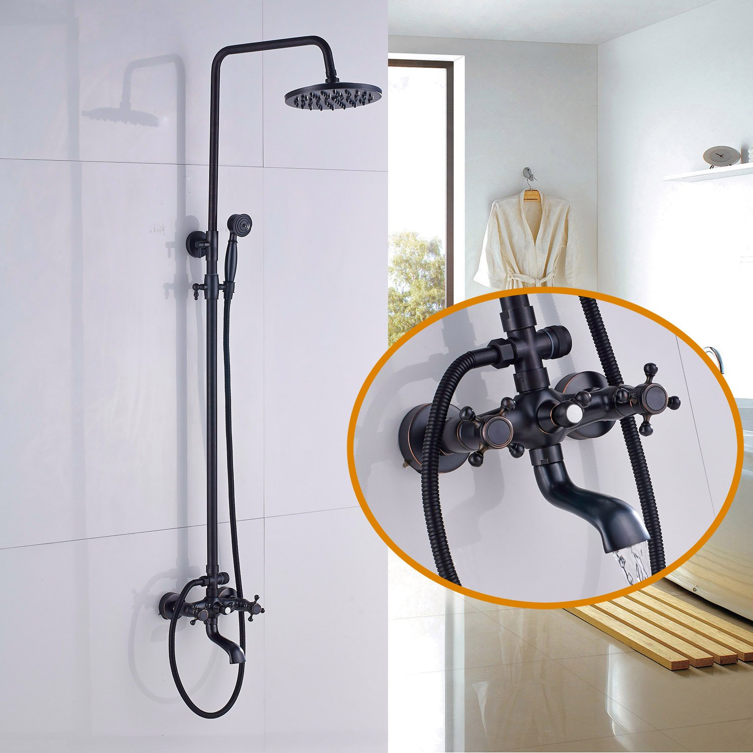 Rozin Wall Mounted Bath Rainfall Shower Set Tub Faucet with Handheld Spray Oil Rubbed Bronze by Rozin
