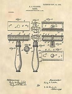 Patent Prints - Gillette Razor Patent Art - Barber Art Patent Print - Bathroom Wall Art (8.5 x 11) - 6