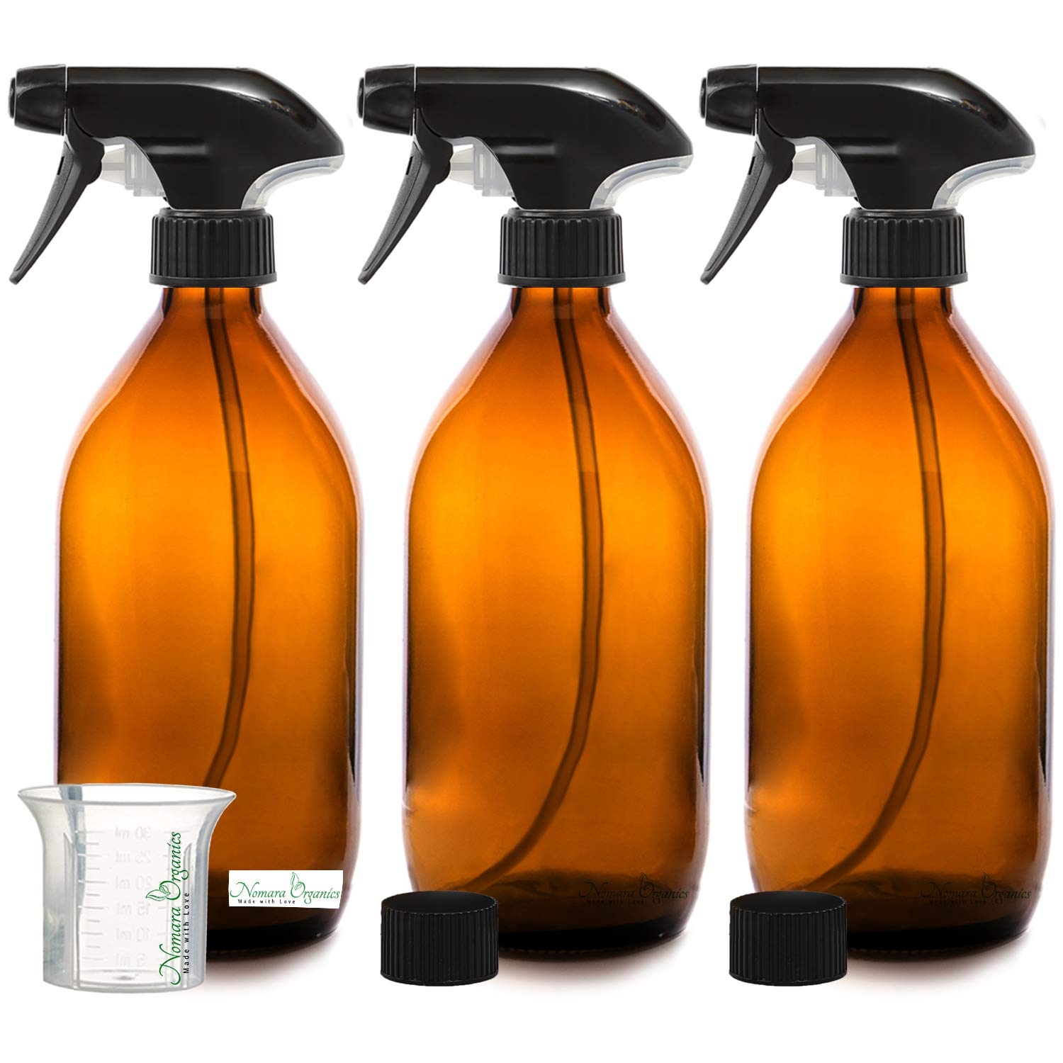 3 x 500ML BPA-FREE AMBER GLASS SPRAY BOTTLE by Nomara Organics. Pack of 3 Empty Bottles with Non-Drip, Fine Mist, BPA-FREE Trigger Pump/Atomizer + 1 BPA-Free Beaker + 2 Leak-Proof Caps. Multi-purpose, Re-usable, Eco-Friendly, Perfect for Outdoor, Indoor,