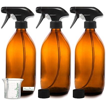 Nomara Organics sin BPA Vaporizador en Botella de Cristal Ámbar 3 x 500 mL. Con