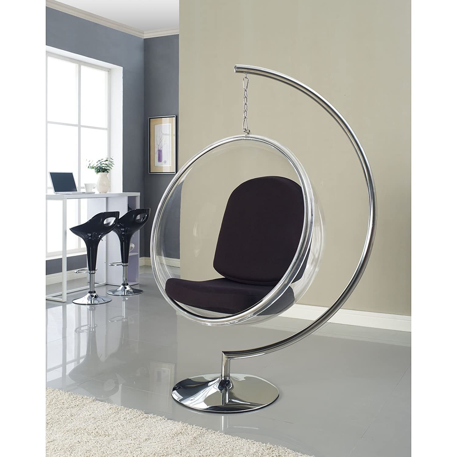 Bubble chair eero aarnio - Amazon Com Modway Eero Aarnio Style Bubble Chair With Black Pillows Kitchen Dining