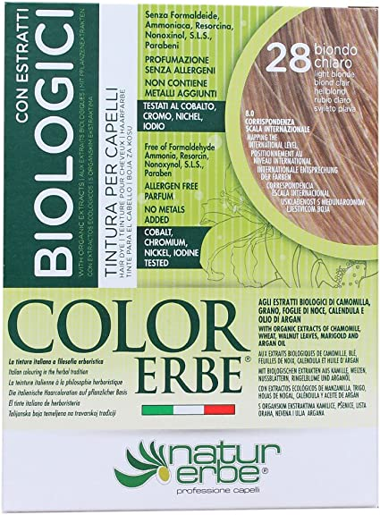 Naturerbe Color Erbe Estratti Bio Tintura 28 Biondo Chiaro: Amazon ...