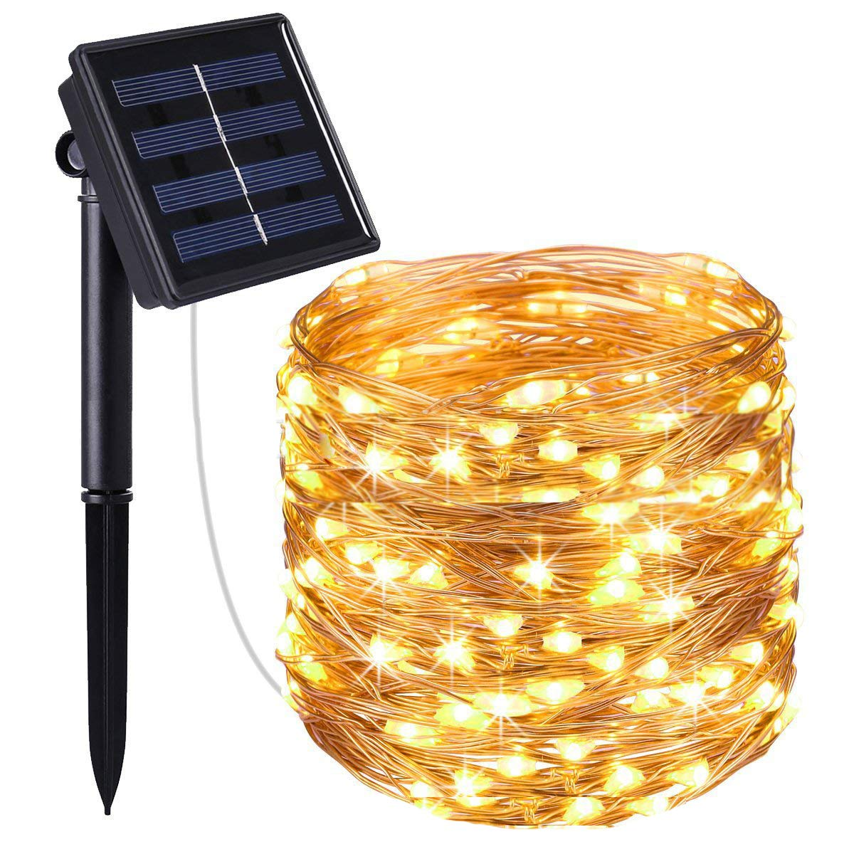Nittelights Solar Powered String Lights,100 LED Copper Wire Lights,Starry String Lights,Waterproof Solar Decoration Lights for Gardens,Home,Dancing,Party Decorative(Warm White)