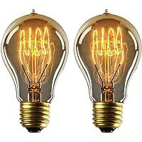 Ampoule Edison E27 Dimmable Vintage Lampe Edison Antique Filament Rétro Lumière Globe Blanc Chaud A19 220-240V 40W - 2 Pack