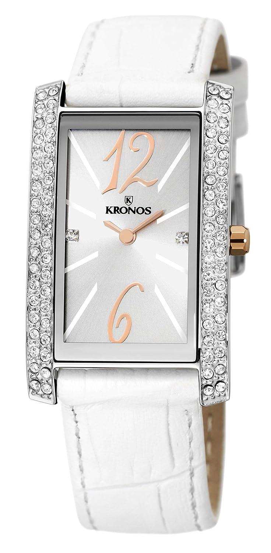 KRONOS - Ladies Bicolor 918.33 - Reloj de señora de Cuarzo, Correa de Piel Blanca, Color Esfera: Plateada: Amazon.es: Relojes