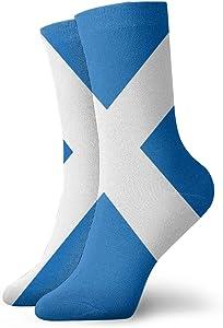 Crew Socks Scottish Flag Inspiring Mens Dress Stocking Party Sock Clearance for Man