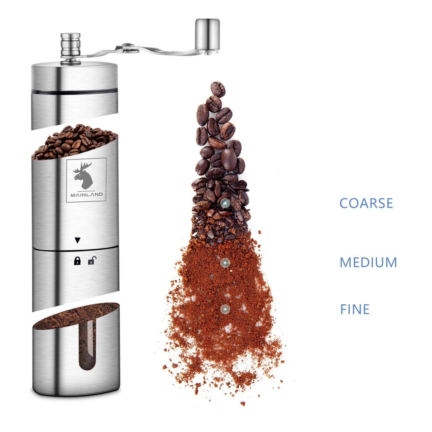 Manual Coffee Grinder by Mainland (Hand Held) Adjustable Fine, Medium, Coarse Grounds | Ceramic Burr Mill for Whole Bean Grinding | Home Kitchen, Office, Travel by Mainland (Image #5)