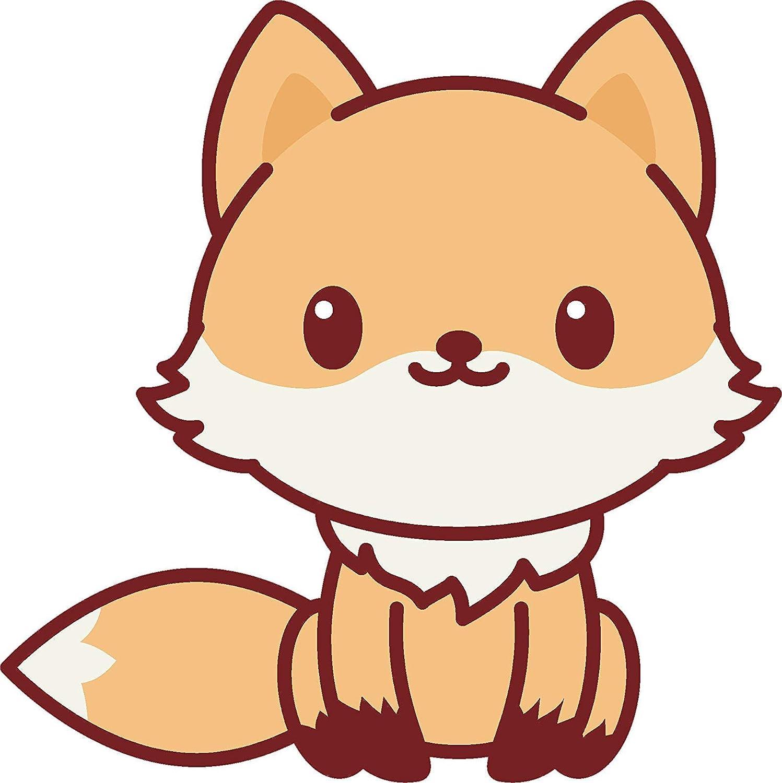 Amazon Com Ew Designs Adorable Cute Kawaii Animal Cartoon Vinyl Decal Bumper Sticker 4 Tall Fox Kitchen Dining