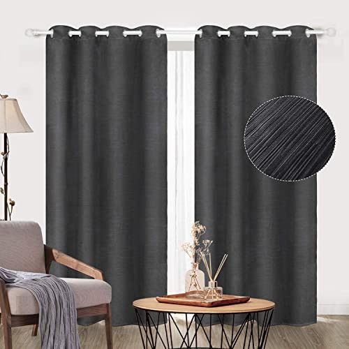 Zerohub 100 Embossed Blackout Curtains, Noise Reducing, Energy Saving, Thermal Insulated Grommet Drapes for Bedroom, Living Room Two Panels, 52 x 96 Inch, Black