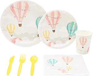 Hot Air Balloon Party Pack, Paper Plates, Plastic Cutlery, Cups, and Napkins (Serves 24, 168 Pieces)