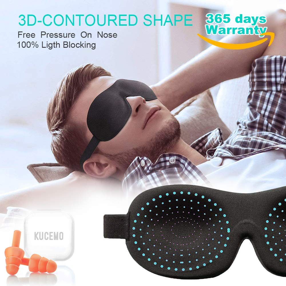Sleep Mask for Woman Man Kids Girls with Ear Plugs; 3D Contoured Sleeping Masks with Adjustable Straps;Without Nose Baffle Eye Cover;Blindfold Eye Masks for Sleeping with Carry Pouch for Travel Naps