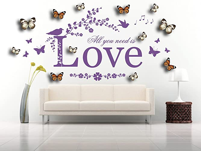 All you need is love quote vinyl wall art sticker mural decal with