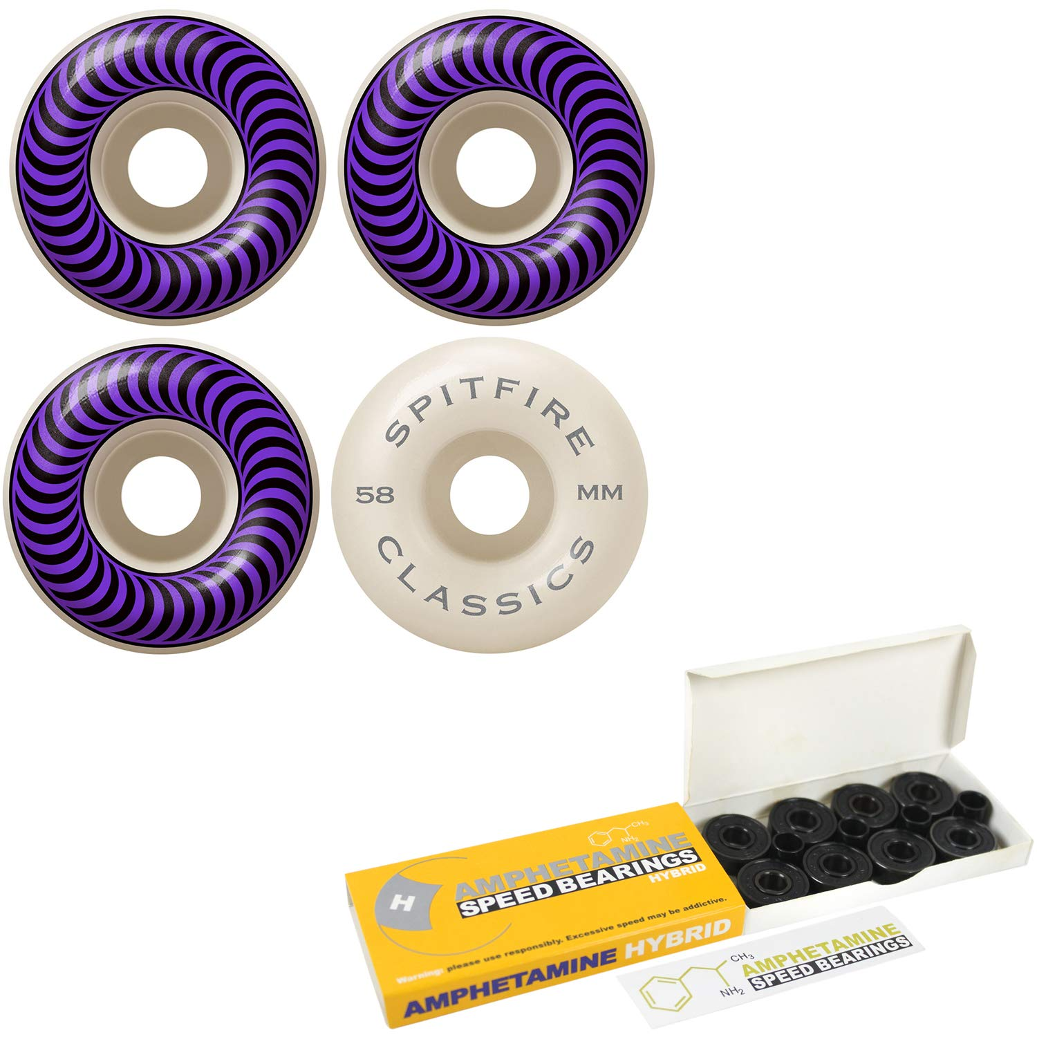 Spitfire Skateboard Wheels Classic Series - Set of 4 (58mm White 99A) by Spitfire