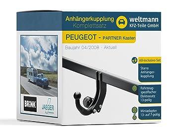 Mundo Muñeco 7b500006 Peugeot Partner Tepee + Buzón - Starre Remolque Incluye fahrzeugspezifischem 13 pines Juego eléctrico: Amazon.es: Coche y moto