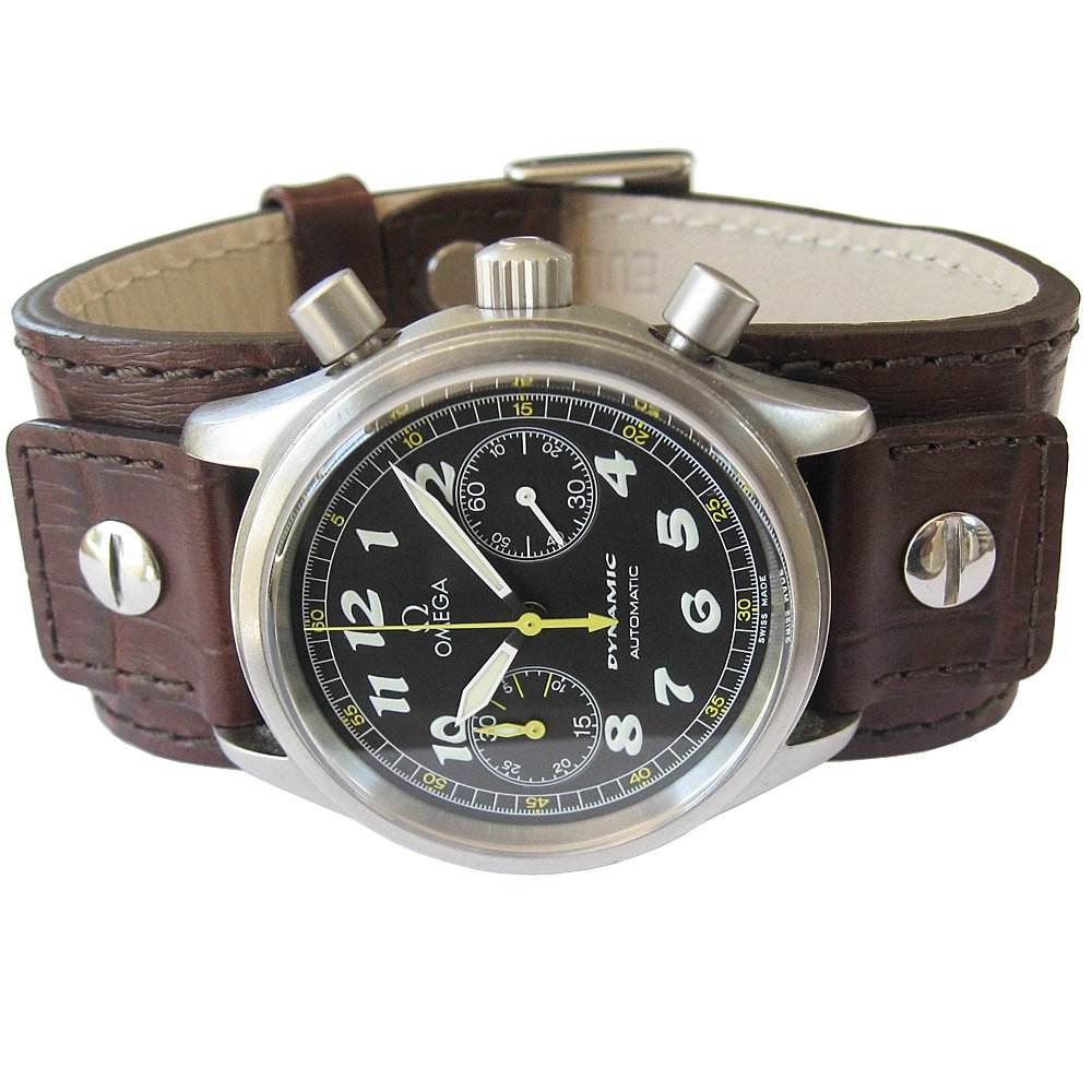 Eulit Cuff 20mm Brown Riveted Crocodile-Grain Leather Watch Strap