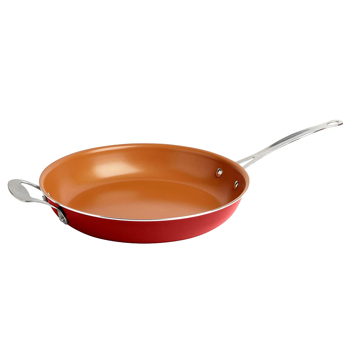 MISC Frying Pan Steel Copper Cookware Kitchen Home Cookwear Culinary Chef Cooking Ceramic Induction Cuisine Skillet Nonstick Orange Dishwasher Safe Lightweight, 9.5 Inch