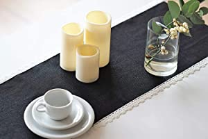 Turkish Linen Black Table Runner – Rectangular with Lace – Best for Family Dinners Coffee Kitchen table Outdoor Picnic Halloween Decor Thanksgiving Christmas (Black Metallic Lace, 14