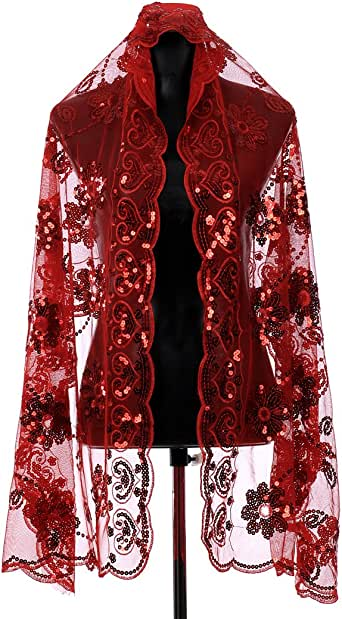 Topwedding Red Tulle Bridal Wrap Wedding Party Dress Shawl