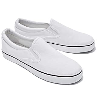 Women's Canvas Slip On Sneakers Fashion Flats Shoes White Canvas Shoes(10.White)