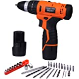Lomvum LY-8612ST 12-Volt MAX Lithium-Ion Compact Cordless Hammer Impact Driver-Drill Kit with Screwdriver Bit Sets(2 Batteries)
