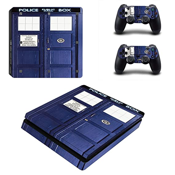 Stillshine PS4 Slim selbstklebender Aufkleber für Playstation 4 Slim Konsole & 2 Dualshock Controller im Set blau Police Box